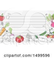 Border Of Garden Tools And Produce With Ruled Lines And Text Space