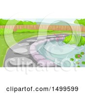Clipart Of A Bog Garden And Path Royalty Free Vector Illustration by BNP Design Studio