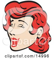 Jolly Red Haired Woman Closing Her Eyes And Laughing Retro Clipart Illustration