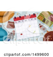 Clipart Of A Calendar With Garden Tools And Seeds Royalty Free Vector Illustration by BNP Design Studio