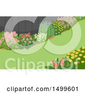 Clipart Of A Landscaped Yard With Flower Gardens And Grass Royalty Free Vector Illustration