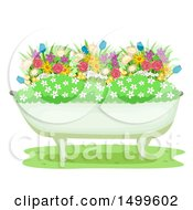 Clipart Of A Flower Garden In A Bath Tub Royalty Free Vector Illustration