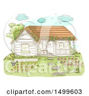 Poster, Art Print Of Sketched Cottage With Flowers In Pots
