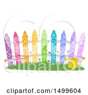 Clipart Of A Fence Made Of Colorful Planks Royalty Free Vector Illustration