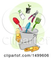 Clipart Of A Sketched Bucket With Garden Gloves And Tools Royalty Free Vector Illustration