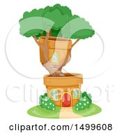 Clipart Of A Bonsai Tree House With Pots Royalty Free Vector Illustration