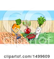 Clipart Of A Carrot Beet And Radish Gardening Royalty Free Vector Illustration by BNP Design Studio