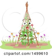 Clipart Of A Trellis Garden Mascot Character With A Tomato Plant Royalty Free Vector Illustration by BNP Design Studio