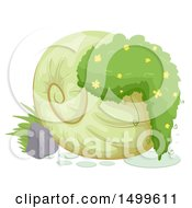 Clipart Of A Garden Plant In A Shell Royalty Free Vector Illustration