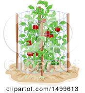Clipart Of A Tomato Cage Around A Plant Royalty Free Vector Illustration by BNP Design Studio