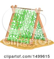 Clipart Of A Plant Support With Vines Royalty Free Vector Illustration