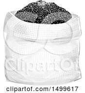 Clipart Of A Sack Of Grains In Crosshatching Drawing Technique Style Royalty Free Vector Illustration