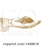 Clipart Of A Hand Holding Grains In Crosshatching Drawing Technique Style Royalty Free Vector Illustration