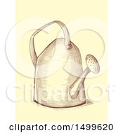 Clipart Of A Watering Can In Crosshatching Drawing Technique Style Royalty Free Vector Illustration