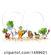 Line Of Vegetable Mascots With Garden Tools