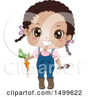 Clipart Of A Cute Black Girl Holding A Carrot Freshly Picked From Her Garden Royalty Free Vector Illustration