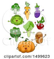 Clipart Of Happy Vegetable Character Mascots Royalty Free Vector Illustration by BNP Design Studio