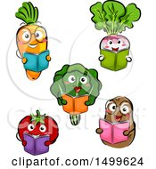 Clipart Of Happy Vegetable Character Mascots Reading Books Royalty Free Vector Illustration by BNP Design Studio