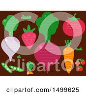 Background Of Fruits And Veggies With Lines And Text Space