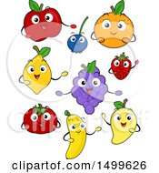 Clipart Of Happy Fruit Character Mascots Royalty Free Vector Illustration