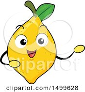 Clipart Of A Lemon Character Mascot Presenting Royalty Free Vector Illustration by BNP Design Studio