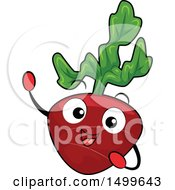 Clipart Of A Happy Radish Character Mascot Royalty Free Vector Illustration