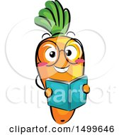 Happy Carrot Character Mascot Reading A Book