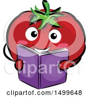 Happy Tomato Character Mascot Reading A Book