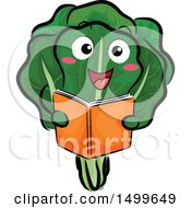 Happy Lettuce Character Mascot Reading A Book
