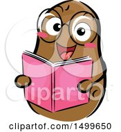 Clipart Of A Happy Potato Character Mascot Reading A Book Royalty Free Vector Illustration by BNP Design Studio