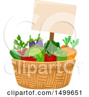 Basket Of Veggies With A Sign