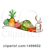 Clipart Of A Border Of Veggies Royalty Free Vector Illustration by BNP Design Studio