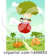 Clipart Of A Group Of Children Floating In A Broccoli And Tomato Hot Air Balloon Over Veggies Royalty Free Vector Illustration