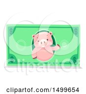 Clipart Of A Piggy Bank Mascot On A Dollar Bill Royalty Free Vector Illustration