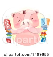 Clipart Of A Piggy Bank Mascot With Coupons Royalty Free Vector Illustration