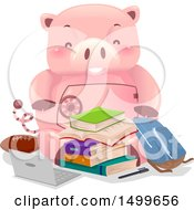 Clipart Of A Piggy Bank Vault Mascot With College Items Royalty Free Vector Illustration