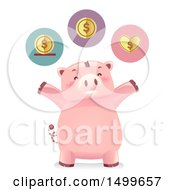 Clipart Of A Cheering Piggy Bank Mascot With Save Spend And Share Icons Royalty Free Vector Illustration
