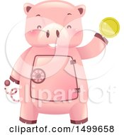Clipart Of A Piggy Bank Vault Mascot Holding A Gold Coin Royalty Free Vector Illustration