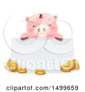 Happy Piggy Bank Mascot Holding A Blank Sign Over Coins