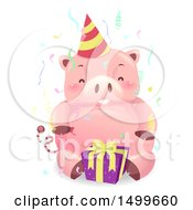 Clipart Of A Birthday Piggy Bank Mascot With A Party Hat And Gift Royalty Free Vector Illustration