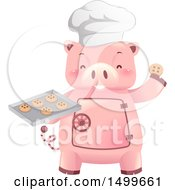 Clipart Of A Piggy Bank Vault Mascot Holding A Baking Tray Of Cookies Royalty Free Vector Illustration