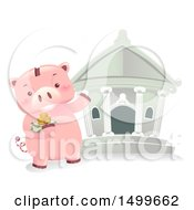Clipart Of A Piggy Bank Mascot Taking Money To The Bank Royalty Free Vector Illustration