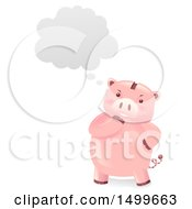Clipart Of A Piggy Bank Mascot Thinking Royalty Free Vector Illustration