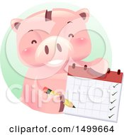 Clipart Of A Piggy Bank Mascot Holding A Calendar Royalty Free Vector Illustration