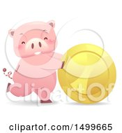 Clipart Of A Piggy Bank Mascot Rolling A Giant Gold Coin Royalty Free Vector Illustration