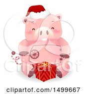 Clipart Of A Piggy Bank Mascot With A Christmas Gift Royalty Free Vector Illustration