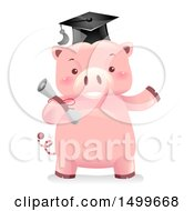 Clipart Of A Graduate Piggy Bank Mascot Holding A Diploma Royalty Free Vector Illustration