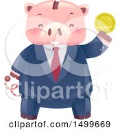 Clipart Of A Business Man Piggy Bank Mascot Holding Up A Gold Coin Royalty Free Vector Illustration