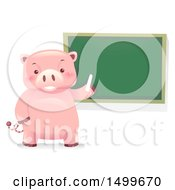 Clipart Of A Piggy Bank Mascot By A Chalkboard Royalty Free Vector Illustration