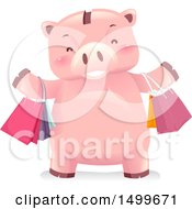 Clipart Of A Piggy Bank Mascot With Shopping Bags Royalty Free Vector Illustration